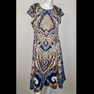 Shelby Palmer paisley print stretch fit & flare
